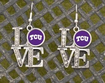 """TCU Horned Frogs """"LOVE"""" Earrings"""