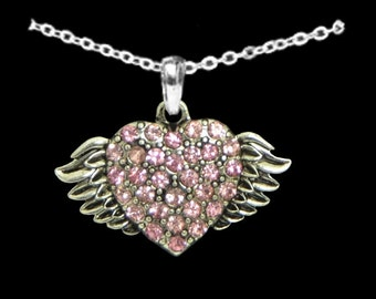 Medium Winged Heart Necklace