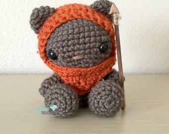 Crochet Ewok teddy bear in Amigurumi style with spear
