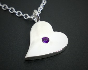 Amethyst Sideways Heart Necklace Pendant in Sterling Silver - Amethyst Heart Necklace, Sterling Silver Heart Necklace, Silver Heart Pendant