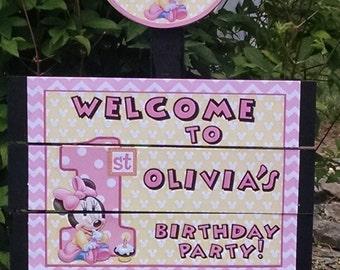 Baby Minnie Birthday Yard Sign