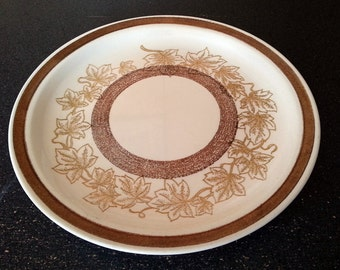 Vintage Jamestown China Ironstone Brown Maple Leaf Dinner Plate