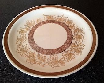 Vintage Jamestown China Ironstone Brown Maple Leaf Dinner Plate