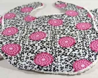Bib and Burp Cloth Set, Pink and Black Flowers and Vines, Baby Girl
