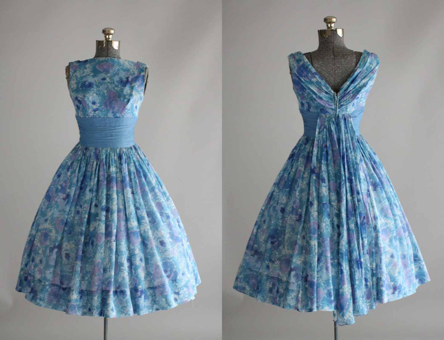 Vintage 1950s dress 50s garden party carol craig blue and for Garden party dresses