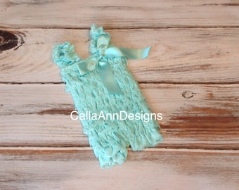 Petti Romper - Aqua Lace Romper and Headband Set - Baby Romper - Girls Romper - Ruffle Romper - Lace Dress - Baby Outfit - First Birthday