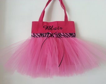 Mini Tutu Dance Bag!  Zebra Ribbon!  Free Embroidery ! Pink, Purple,Turquoise! New lower price Limited time only!