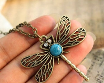 Antique Look Bohemia Crystal Dragonfly Necklace .