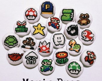 Mario bros. covered buttons/magnet/brooch
