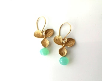 18k Gold Matte Dangle Earrings with Gemstones from ( BADIàGEMS collection)