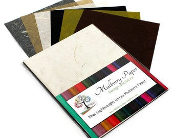 """Mulberry Kozo Paper in 6 Neutral Shades for Arts, Crafts and Scrapbooking (24 Sheets of 8.5"""" x 11"""" Paper) - Light Weight"""