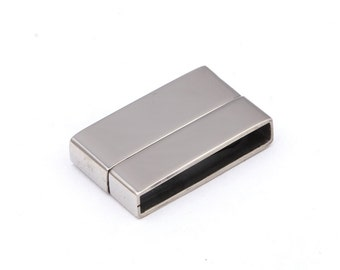 Stainless Steel Magnetic Clasp Rectangle (Hole Size: 20x3 mm) for flat leather and cord - (1 Pcs, 3 Pcs) | STA-M020
