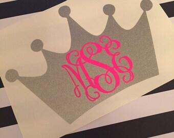 Crown Monogram Decal - Monogram Crown Decal - Crown Car Decal - Vinyl Decal