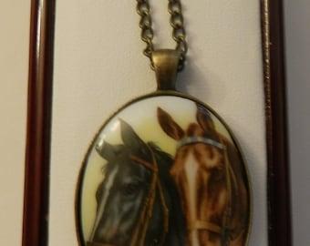 Lovely Horse Cameo Pendant  V1
