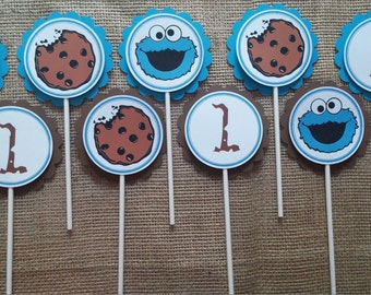 Cookie Monster Birthday cupcake  toppers set of 20