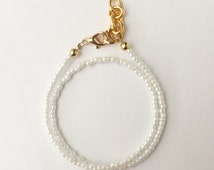 Solid White Seed Bead Wrap Bracelet