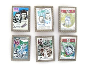 Space, Set of 6 Vintage badges, Soyuz, Cosmonautics, Soviet Pin, Cosmonaut, Badge, Made in USSR