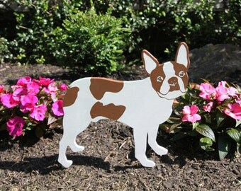 Boston Terrier Outdoor Wood Lawn Dog Decoration