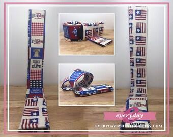 dSLR Camera Strap Cover - USA Patriotic - Patchwork  & US Flags