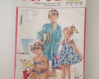 Beach Robe / coverup / girls sundress / bikini / bathing suit / childrens sewing pattern, Size 3 4 6 7, Chest 22 23 24 25 26, Burda 5724