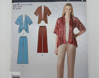 Elastic waist pants /jacket/ stretch pants/office clothes/ 2011 sewing pattern, Sizes 10 12 14 16 18, Bust 32 34 36 38 40, Simplicity E 2119