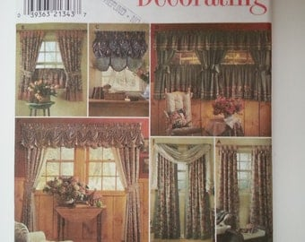 Living room curtains /Window treatments/valances / drapery panels/cafe /balloon, Kitchen decor curtains 1998 sewing pattern, Simplicity 8052