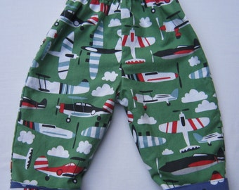 Baby and Toddler Boy Airplane Reversible Pants in Green and Blue Fabric by Blend in Size 6 to 12 months
