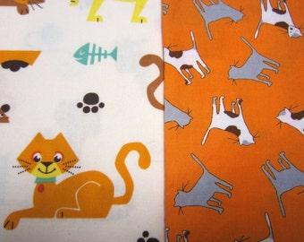 Two Kitty Cat Cotton Fabric Set by Robert Kaufman and Timeless Treasures