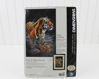 Tiger Chilling Out Counted Cross Stitch Kit by Dimensions Crafts, K106