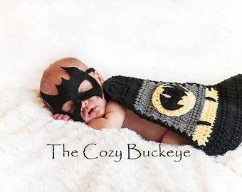 Instant Download Crochet Pattern - Newborn Baby Boy Bat Cape & Mask Set, Photography Prop, Superhero cape, Halloween Costume