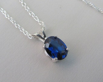 Sapphire Necklace, September Birthstone Pendant, Lab Grown Blue Sapphire, Sapphire 8x6mm Gemstone, Sterling Silver, Wedding Jewelry, Bride