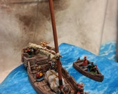 Handpainted 28mm Sailing Ship with Row boat and Cargo