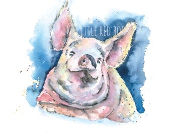 Piggy Wig Watercolour Print from painting