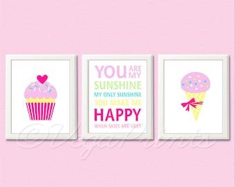 Baby girl wall art print -UNFRAMED- girl nursery wall art, pink, purple, yellow, turquoise, green, ice cream, cupcake, sunshine, typography