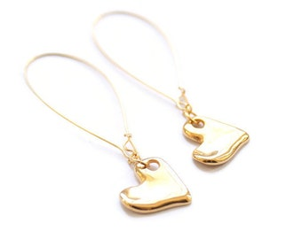 Gold earrings, dangle earrings, long earrings, Valentine's gift, heart earrings, kidney ear wires, stocking filler