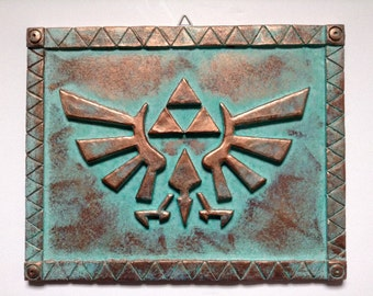 "Zelda - Hyrule Crest - Patinated Copper - Wall Display 12.5"" (32cm)"