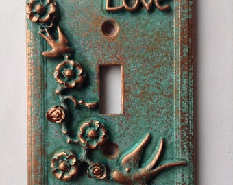 Love Style - Light Switch Cover - Aged Copper/Patina or Stone
