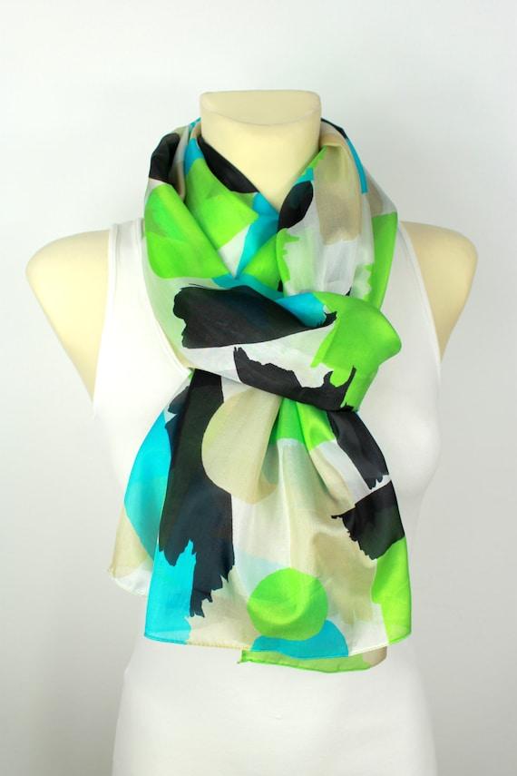 Geometric Silk Scarf - Green Silk Scarf - Printed Silk Scarf - Silk Fabric Scarf - Women Fashion Accessories - Unique Gift Ideas for Her