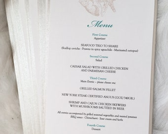 Silver and Turquoise Destination Wedding Menu with Seashells