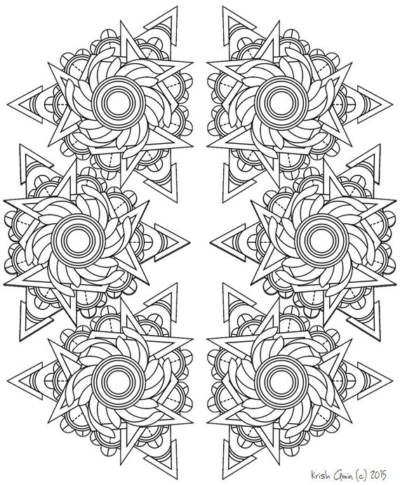 Items Similar To Mandala Adult Coloring Page From Zen Out Vol 1 Kids Coloring Book Doodling