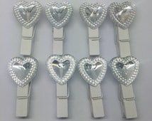 30pcs 35mm White Wood Pegs Silver Hearts Shabby Wedding Clothespins Baby Shower Crafts Scrapbooking