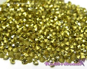 100x Grade A Glass Rhinestone Chatons 3 mm - Jonquil (yellow)