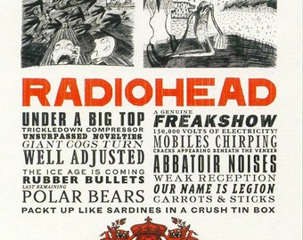 Radiohead Notice Poster Thom Yorke  24 x 36
