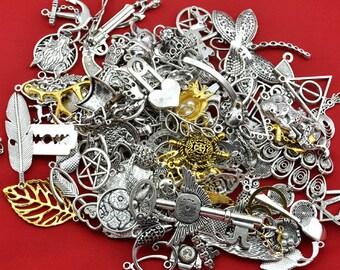 100pcs RANDOM Mix Styles charms,Antique Silver /Gold plated Zinc Alloy Charms Pendant,Antique Silver accessories