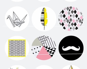 Hipster mustache triangle 12 Images/Dessins digitales/collage sheet pour cabochon 25 mm Rond