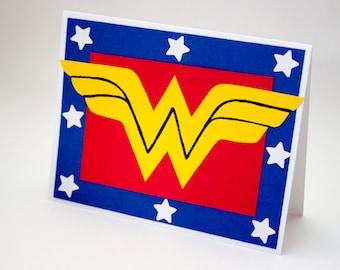 Wonder Woman Greeting Card, Superhero blank inside all occasion card, geek card