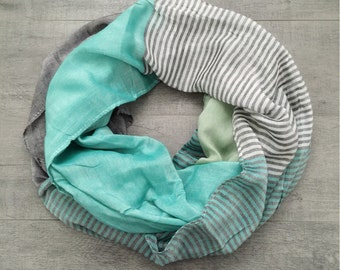 Mint Green/Grey Colorful Striped Infinity Scarf