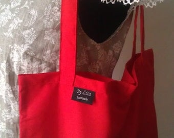 Cotton Shopping Bag Red Tote bag Eco-Friendly