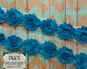 "Teal 2.5"" Chiffon Shabby Flowers/Wholesale/single/ Yard"