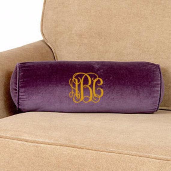 Decorative Bolster Pillow Black : Velvet Bolster Pillow. Monogrammed Bolster by GecesGiftShop